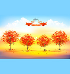 beautiful autumn nature background with trees and vector image