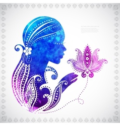 Beautiful watercolor Girls silhouette with some vector image