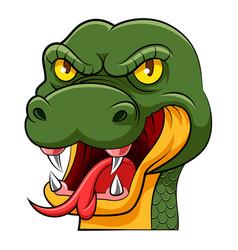 Big head green snake with long tongue vector