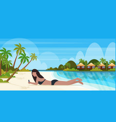 Bikini woman sunbathing girl in swimsuit using vector