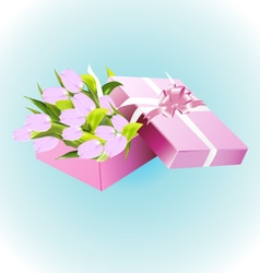 Box with tulips vector image