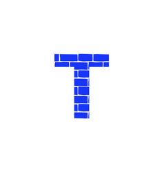 Brick logo letter t vector