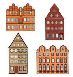 Building set european classical architecture vector