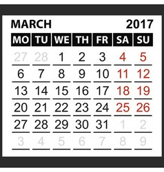 Calendar sheet March 2017 vector