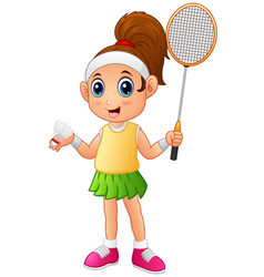 cartoon girl playing badminton vector image