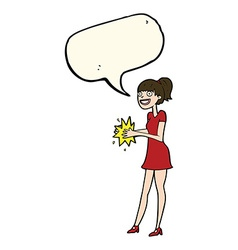 Cartoon woman clapping hands with speech bubble vector
