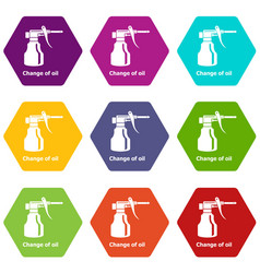 change oil icons set 9 vector image