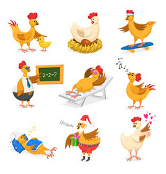 chicken cartoon chick character on vector image