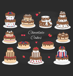 Chocolate cakes set hand drawn colorful vector