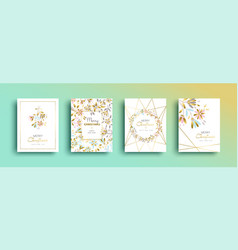 christmas and new year gold flower card set vector image