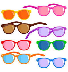 Collection colorful sunglasses vector
