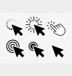 Computer mouse click cursor black arrow icons set vector