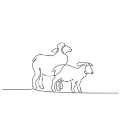 continuous one line draw sheep minimalistic style vector image