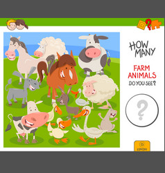 Counting farm animals educational game vector