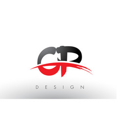 cp c p brush logo letters with red and black vector image
