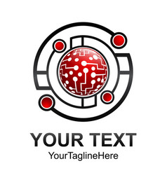 creative abstract circle geometric technology logo vector image