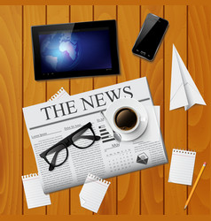Cup of coffee newspaper tablet smartphone and g vector