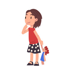 Cute curious girl standing with doll adorable kid vector