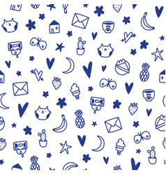 cute ink doodles kids simple and fun pattern vector image