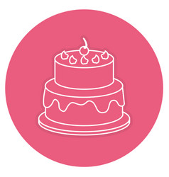 Delicious cake with cherry celebration icon vector