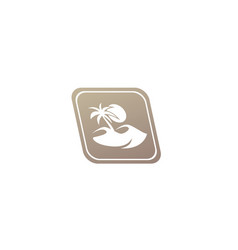 Desert logo palm and sand and sun design in the vector