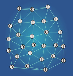 digital network with binary code numbers 1 and 0 vector image