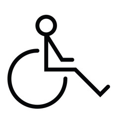 disability wheel chair icon with outline style vector image