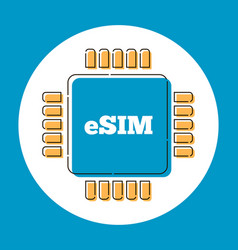 esim card chip sign in flat style vector image