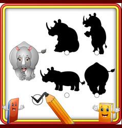 find the correct shadow cartoon funny rhino educ vector image