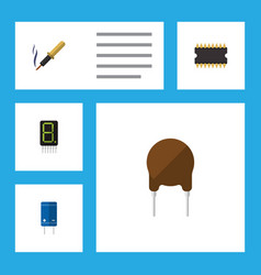 flat icon electronics set of calculate vector image