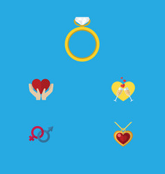 Flat icon heart set of engagement necklace vector