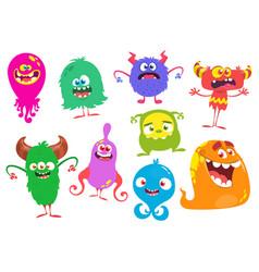 funny cartoon monsters set cartoon monsters vector image