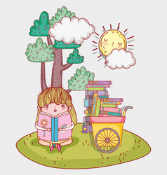Girl read literature book with hand cart vector