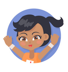 Girl with raised hands black pigtail and forelock vector