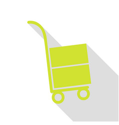 hand truck sign pear icon with flat style shadow vector image