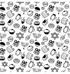 hanukkah a set of traditional attributes of the vector image