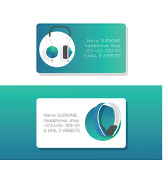 headphone business card headset listening to vector image