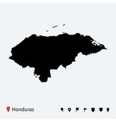 high detailed map honduras with navigation pins vector image