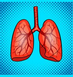 Human lungs pop art style vector