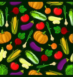 icons vegetables in seamless pattern vector image