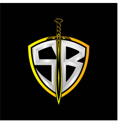 Initials s b is a shield decorated vector