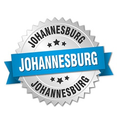 Johannesburg round silver badge with blue ribbon vector