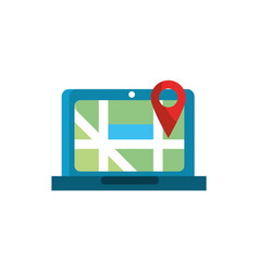 laptop pointer gps map and navigation vector image