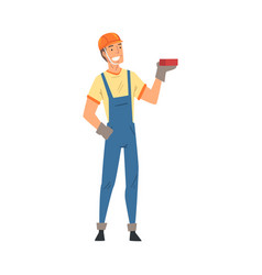 male builder construction worker character in vector image