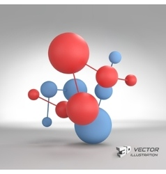 Molecular structure with spheres 3d vector image