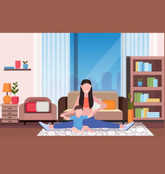 mother with kid doing physical exercise at home vector image