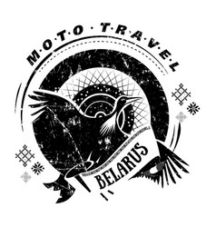 Moto travel emblem bird stork wheel national vector