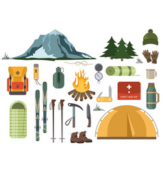 mountain hike winter ski hiking snowy backpack vector image