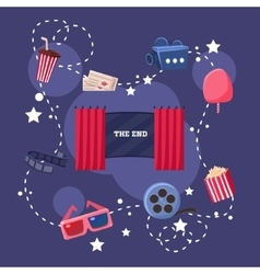 Movie Theatre Objects Collection vector