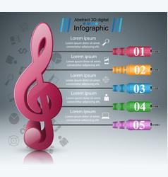 music infographic treble clef icon note icon vector image